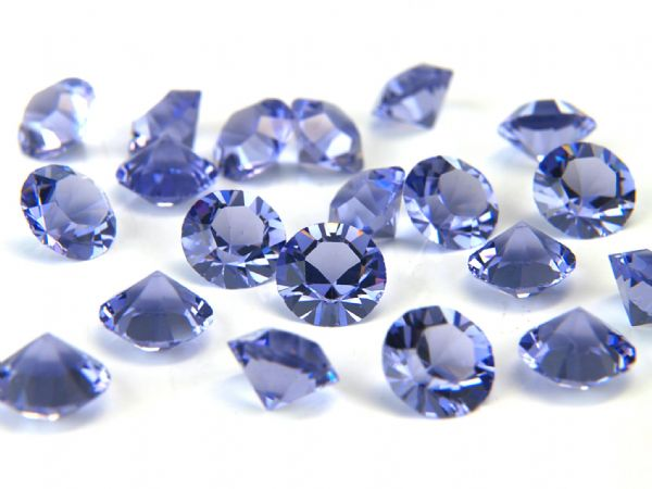 1088 UNFOILED Round Pointed Back Crystals, Tanzanite